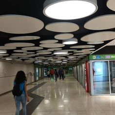 Garibaldi station! Never noticed before! #Milan #Garibaldi #tube #station. #backlit #panels #lighting #light #circle