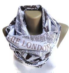 book scarf ,London scarf /newspaper scarf / neckwarmer / women ,men infinity scarf / fashion accessories / cotton linen scarf / unisex