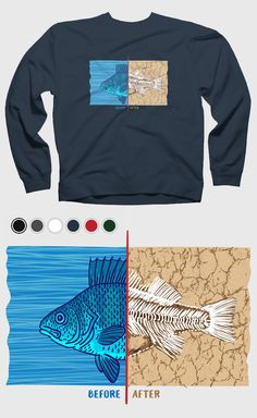 0b14a9367941 Trendy environmental engagement and awareness t-shirt design reality of  climate change. Fish illustration