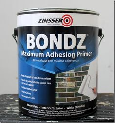 Use this Adhesive Primer For Laminated Surfaces. Here is a great tutorial on how to apply this product on furniture: http://www.turnstylevogue.com/2013/03/using-adhesive-primer-for-laminated-surfaces/