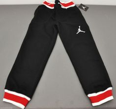 NWT Nike JORDAN Varsity Sweatpants Black/White/Red Kids Sz M Medium 10-12yrs old