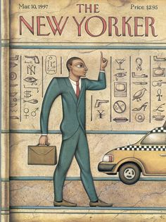 "The New Yorker - Monday, March 10, 1997 - Issue # 3743 - Vol. 73 - N° 3 - Cover ""Tut's Taxi"" by Anita Kunz"