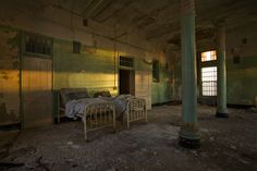 Patient dormitory at Buffalo State Asylum. A Kirkbride building, the hospital was started in the 1870s and  housed mental patients until the mid-1970s.
