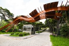 Cemetery Entrance by Carpinteria Wooden Structures – Woodworks Landscape Structure, Timber Structure, Shade Structure, Door Gate Design, Entrance Design, Entrance Gates, Main Entrance, Architecture Details, Landscape Architecture