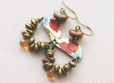 Colorful Gypsy Earrings with Red and Blue by MusingTreeStudios