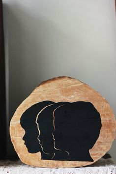 Wooden Silhouette  Want to do this for mum & dad using all 3 grandsons