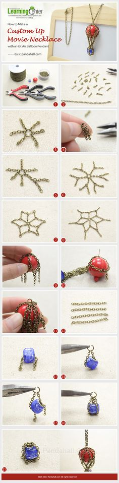 How to Make a Custom Up Movie Necklace with a Hot Air Balloon Pendant This project aims on how to make a custom necklace that inspired by a movie, and in it, the highlight is a flying house. Has that reminded you of some plots? Wire Wrapped Jewelry, Wire Jewelry, Jewelry Crafts, Beaded Jewelry, Handmade Jewelry, Jewellery, Bijoux Design, Schmuck Design, Jewelry Design