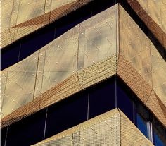 """Airport Hotel"""" – Basel, Switzerland   Serge Ferrari Stamisol Color waterproof breathable membrane installed behind perforated gold metal panels Metal Facade, Metal Panels, Airport Hotel, Perforated Metal, Facade Architecture, Digital Prints, Luxury, Building, Retail"""