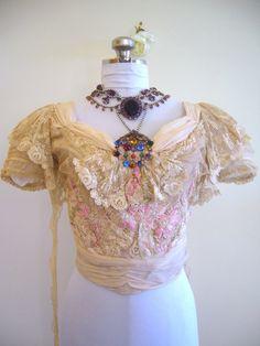 Edwardian 1910 Ecru Lace Silk Blouse Top - ❤❦♪♫