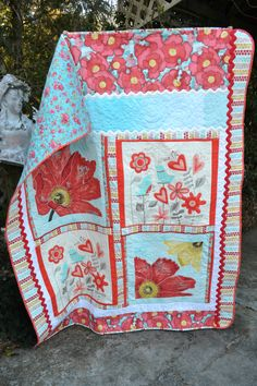 Cottage Chic Aqua and Red Poppy Hearts by TrueloveQuiltsForYou
