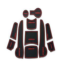 High Quality 1set Non-Slip Interior Soft Rubber Door Panel Mats Cup Holder Pad For Hyundai Venna 2010-2013