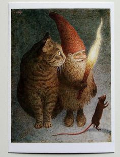 """""""Julen är här"""" Gnome with torch and a Cat and a Mouse Illustration by Lennart Helje ~ Lennart Helje is a Swedish illustrator particularly known for his wondrously moody paintings of gnomes either with animals or without, but usually with snow. Christmas Gnome, Christmas Eve, Christmas Cards, Father Christmas, Christmas Pictures, Magical Creatures, Children's Book Illustration, Pics Art, Faeries"""