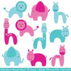 Baby Shower Animals Clipart Clip Art, Zoo Animals Jungle Animals Clipart Clip Art - Commercial and Personal Use