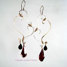 Lilith Sangue Earrings with spinel, Swarovski crystal, handforged Sterling Silver and 14k Gold Fill. Also comes in a necklace!