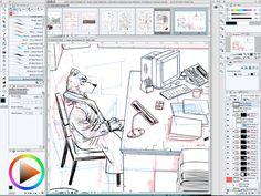 Jack Wolfgang 3 --- mon espace de travail. #graphicnovel #bandedessinée #wolf #loup  #digital #photoshop #jackwolfgang #secretagent #agentsecret  #henrirecule #artist #dessinateurBD #character #personnage #illustration #scene #moment Moment, Photoshop, Fine Art, Gallery, Illustration, Wolves, Comics, Outer Space, Persona