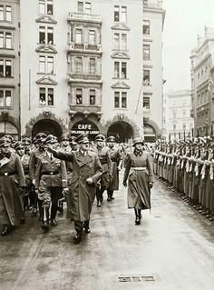 Adolf Hitler on March 5, 1941 in front of Munich's famed Hofbräuhaus. The Hofbräuhaus was spared any bombing and it still remains today.