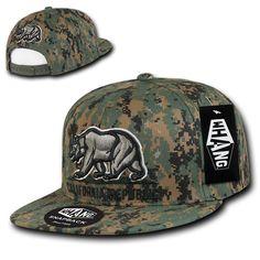 California Flag Bear Hats, California Republic Snap Back, One Size Fits All