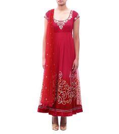 #Fuchsia #Dupion & Net Gota Work & Appliqued #Anarkali #Suit by #Anju #Modi at #Indianroots
