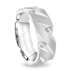 Gorgeous and eye catching mens diamond wedding band features satin center finish with polished v-cut grooves embedded with round cut diamonds.