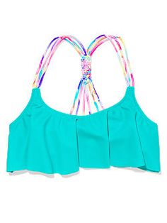 Knot back flounce bathing suit top in ultra aqua