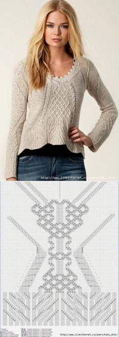 Вязание спицами - Пуловер с аранами и косами...♥ Deniz ♥.