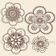 Henna Tattoo Paisley Doodle Flowers