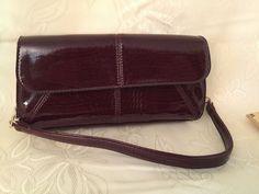 "Liz Claiborne Money Talks Handbag w/ Chain Detail Shoulder Strap Brandywine 9"" #LizClaiborne #ShoulderBag"