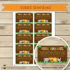 Safari Jungle Baby Shower Book Request by stockberrystudio on Etsy