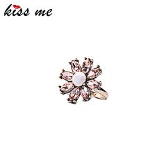 New Arrival Retro Crystal Flower Rings for Party Summer Dress Accessories Modern Women Finger Rings
