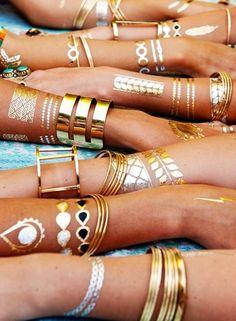 Gold accessories.