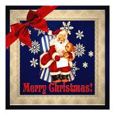 Classic vintage Santa Christmas  Flat Card - Xmascards ChristmasEve Christmas Eve Christmas merry xmas family holy kids gifts holidays Santa cards