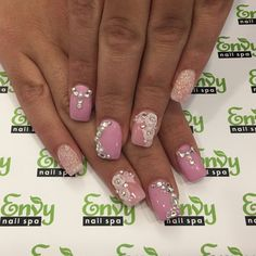3D Flowers, Pink, Glitter, Rhinestone Nails - Envy Nail Spa Pink Nail Designs, Nail Envy, Rhinestone Nails, Nail Spa, Pink Glitter, Pink Nails, 3d, Flowers, Royal Icing Flowers