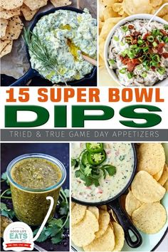 Check out this list of 15 tried and true Super Bowl Dip recipes! I've got you covered with salsa recipes, cheesy dips, bean dips, and tons more – don't worry, there are plenty of easy appetizers on this list if you're looking for a simple Super Bowl recipe to serve on game day. | Good Life Eats @goodlifeeats #superbowldiprecipes #easygamedayfood #easysuperbowlrecipes #goodlifeeats Dip Recipes, Appetizer Recipes, Dinner Recipes, Delicious Recipes, Bacon Recipes, Healthy Appetizers, Fall Recipes, Holiday Recipes, Snack Recipes