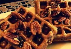 -satisfying sweetness of Pumpkin Waffles drizzled with crunchy Pecans ...