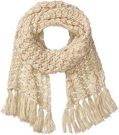 MEXX Damen Schal 14JAW309 Fancy weave scarf, Einfarbig, Gr. One size, Beige (Off White 110)