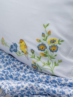 Birdy Embroidered Pillowcase-Heirloom Quality for keepsake. Yellow Cottage, Cozy Cottage, Cottage Shutters, Blue Yellow, Blue And White, Boy Blue, Beach Cottage Style, Color Themes, Blue Bird