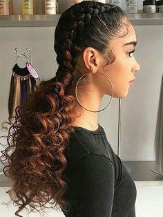 Braided Ponytail Hairstyles, Braided Hairstyles For Black Women, Braids For Black Women, Protective Hairstyles, Hair Updo, Braids With Curls Hairstyles, Braided Hairstyles For Short Hair, Black Braids, Braided Updo