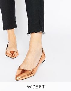 ASOS LOOK BACK Wide Fit Pointed Ballet Flats