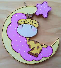 Giraffe in Moon Foam Crafts, Diy And Crafts, Crafts For Kids, Paper Crafts, Baby Shawer, Country Paintings, Baby Scrapbook, Baby Decor, Baby Cards