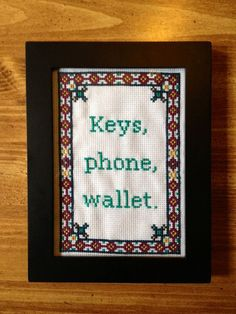 PATTERN Keys Wallet Phone Cross Stitch Reminder by the front door