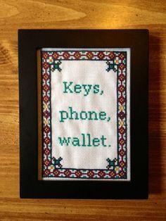 PATTERN Keys Wallet Phone Cross Stitch Reminder