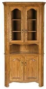 Amish Solid Wood Corner Hutch Cabinet