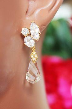 Swarovski Crystal Clear Drop Wedding Earrings by AuroraJewelryBox