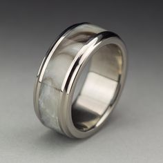 Men's Titanium Wood Tone Burl Wedding Band in Sepia made by Spexton.com