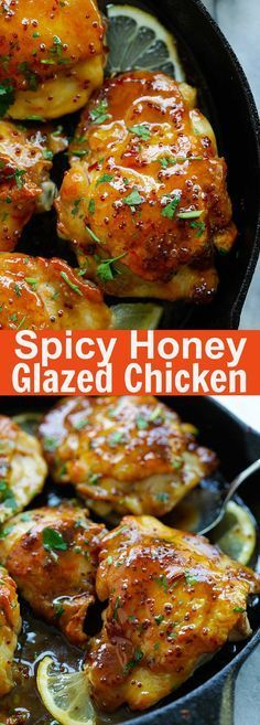 Spicy Honey-Glazed Chicken – the best skillet chicken dinner ever, in a spicy and sweet honey glaze. Takes 20 mins to make Honey Glazed Chicken, Chicken Glaze, Cashew Chicken, Lime Chicken, Cooking Recipes, Healthy Recipes, Delicious Recipes, Zone Recipes, Skillet Chicken