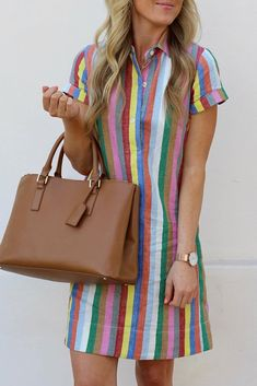 Details: Material: Polyester Style: Fashion Pattern Type: Striped Sleeve Style: Regular sleeve Sleeve Length: Short Sleeve Neckline: V Neck Dresses Length: Mini Silhouette: Waist skirt SIZE(IN) US Sleeve Length Bust Waist Length S M L XL 14 Striped Shirt Dress, Mini Shirt Dress, Button Dress, Casual Dresses, Fashion Dresses, Women's Fashion, Female Fashion, Fashion Clothes, Fashion Online