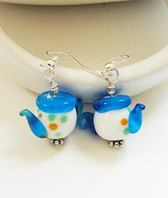 Multi Colored Lampworked Teapot Kids Earrings/ Tea by BijiBijoux,