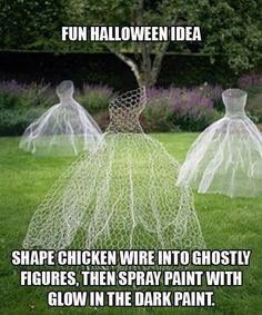 Shape chicken wire into ghostly figure then spray paint with glow in the dark paint