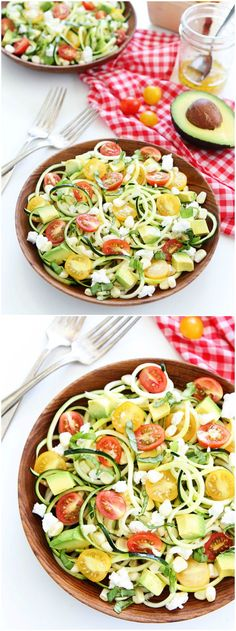 Summer Zucchini Noodle Salad Recipe on twopeasandtheirpod.com This fresh and healthy salad is perfect for your holiday BBQ's!