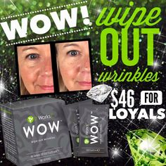 Get WOW'd...Wipe Out Wrinkles with It Works WOW!  Smooth crows feet, fine lines, creases, baggy/puffiness, frown lines or lift sagging upper lids!  Find out more CLICK BELOW